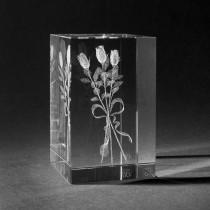 3D Blumenstrauß Rosenstrauß in Kristall Glas gelasert. 3D Crystal Natur Motive