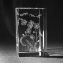 3D Blume Vergiss mein Nicht in Kristall Glas gelasert. 3D Crystal Natur Motive