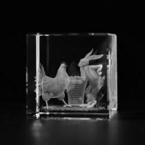 3D Ostermotiv Hase und Huhn in Kristall Glas gelasert. Geschenkidee zu Ostern. 3D Glasmotiv