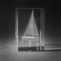 3D Motiv Segelschiff in Kristallglas gelasert. 3D Crystal Schiff in Glas