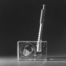 3D Sternzeichen Krebs im Stiftehalter aus Glas gelasert. 3D Crystal Motive in Kristallglas