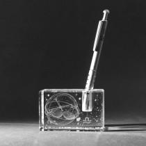 3D Sternzeichen Waage im Stiftehalter aus Glas gelasert. 3D Crystal Kristallglas Motiv