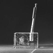 3D Sternzeichen Wassermann im Stiftehalter aus Glas gelasert. 3D Crystal Kristallglas Motiv