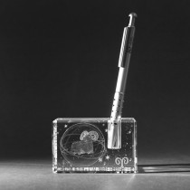 3D Sternzeichen Widder im Stiftehalter aus Glas gelasert. 3D Crystal Kristallglas Motiv