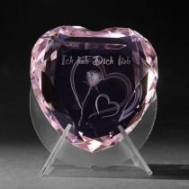 3D Kristall Herz rosa, Ich hab dich lieb in 3D Glas. 3D Lasergravur