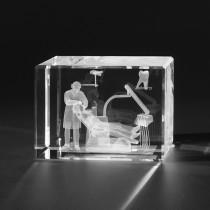 3D Zahnarzt und Patient, Medizinische Dentalmotive in Glas