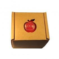 Logo Obst Verpackungen. Apfel Faltschachtel Pappe Box mit Aussparung