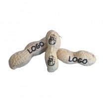 Logo Nuss. Ihr Motiv auf Erdnüsse graviert. Lasergravur auf Schale