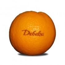 Logo Obst, Gravur auf Früchte, Orange mit Werbung graviert
