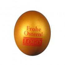 Bedrucktes Logo Ei, Osterei mit Werbung und Farbdruck, Promotion Eier in Gold mit Wunschlogo
