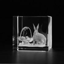 3D Ostermotiv Hase und Korb mit Ostereiern in Kristall Glas gelasert. Geschenkidee zu Ostern. 3D Glasmotiv