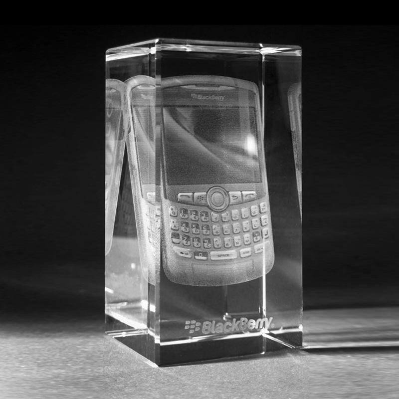 3D Crystal Sonderanfertigung Motiv in Glas gelasert